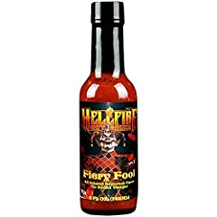 """Hellfire Hot Sauce's """"Fiery Fool"""" is a very special and all-natural superhot puree that contains no added vinegar, low sodium and the hottest and most delicious peppers in the world: the Trinidad Scorpion, Caribbean Red, Carolina Reaper, Bhut Jolokia..."""