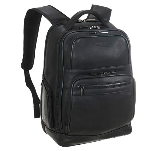 """Kenneth Cole Reaction Colombian Leather Double Compartment 15.6"""" Laptop RFID Backpack Bag, Black, Business"""