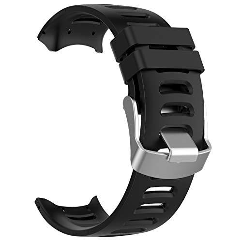 AWADUO - Correa de repuesto para Garmin Forerunner 610, correa de silicona de repuesto para reloj GPS Garmin Forerunner 610, suave y duradera (silicona negra)