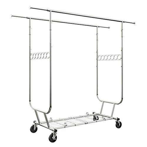 LANGRIA Heavy Duty Rolling Commercial Double Rail Clothing Garment Rack with Wheels Expandable Rods Collapsible Clothes Rack Max Load Capacity 287 lbs for Bedroom Dressing Room Store Chrome