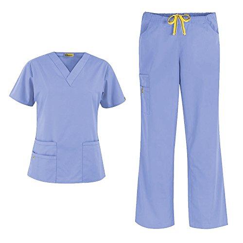 WonderWink Origins Women's 6016 Bravo Top & Romeo Pant 5026 Medical Uniform Scrub Set (Ceil Blue - XX-Small/XXSmall Petite)