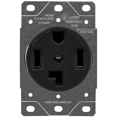 ENERLITES 30 Amp Dryer Receptacle Outlet, NEMA 14-30R   Residential Commercial Industrial Grade, Outdoor/Indoor, 3-Pole, 4 Wire, (10,8,6,4) AWG, UL Listed   125/250V, 66300-BK - Black