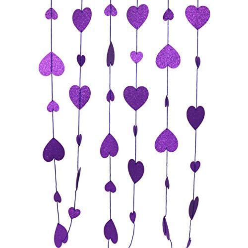 CVHOMEDECO. Twinkle Glittered Paper Heart Shape String Garland Unique Hanging Bunting Banner for Wedding Birthday Party Festival Home Background Decoration, 5.5 feet, Pack of 2 PCS (Purple)