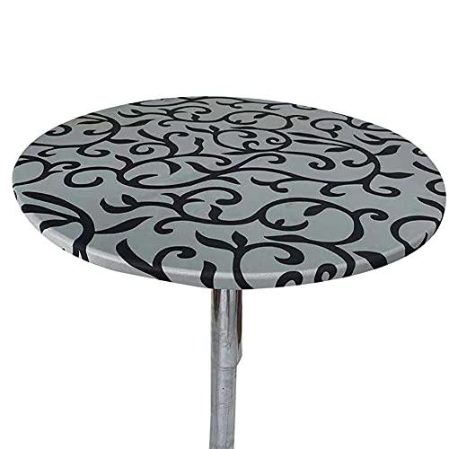 Cozomiz Geometrisch Elastische Tischdecke Gartentischdecke Rundtischdecke wasserdichte rutschfeste Abwischbar Schmutzabweisend Tischdecke Grau 60cm Runde Enge Passform