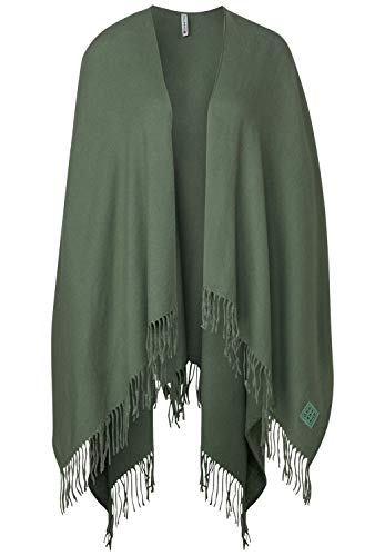 Street One Damen Offener Poncho in Unifarbe Rich Celadon A