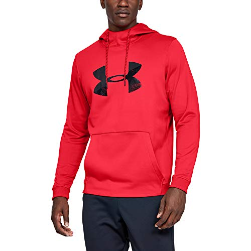 Under Armour Men's Armour Fleece Pullover Hoodie Big Logo Graphic, Red (600)/Black, X-Large