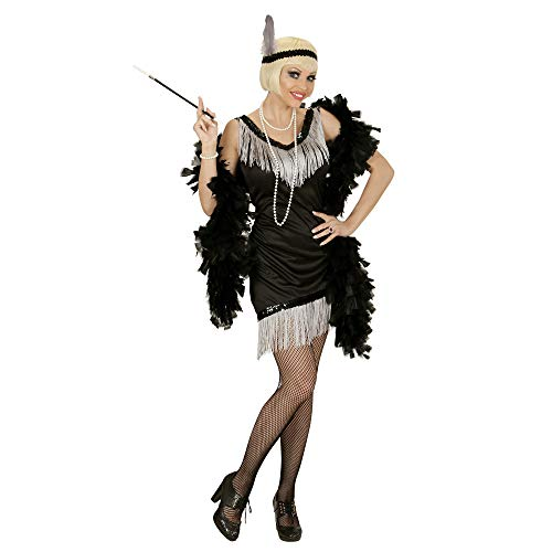 Widmann 03052 - Erwachsenenkostüm Charleston, Kleid, Handschuhe, Kopfband mit Feder, schwarz, Größe M