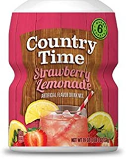 Country Time, Powdered Drink Mix, Strawberry Lemonade, 18oz Tub (Pack of 3)