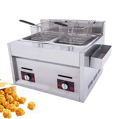 Commercial Twin Deep Fat Fryer 20L with Seasoning Trough And 2 Stainless Steel Frying Baskets Thick 304 Food Grade Stainless Steel, Temperature Control