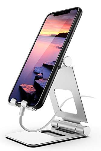 ProCase Soporte Universal para Móvil, Base Plegable Portátil de Metal, Sujeta Movil Metálico de Escritorio Ajustable, Sujeta Tableta para iPad Android Galaxy Tab Teléfono Inteligente iPhone -Plateado