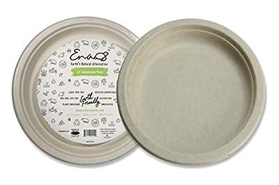 "Earth's Natural Alternative ECOP005pk50 Eco-Friendly, Natural Compostable Plant Fiber 10"" Plate, Natural, 50 Count"