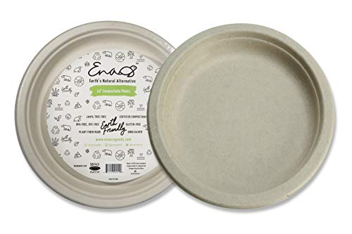 Earth's Natural Alternative ECOP005pk50 Eco-Friendly, Natural Compostable Plant Fiber 10' Plate, Natural, 50 Count