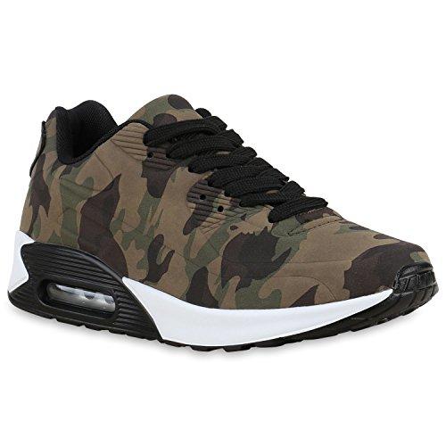 stiefelparadies Damen Herren Lauf Unisex Sport Sneakers Camouflage Fitness Sneaker Leder-Optik Lack Neon Schuhe 132928 Camouflage Weiß 37 Flandell