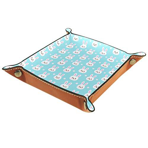 Bandeja de Cuero - Organizador - Conejito azul - Práctica Caja de Almacenamiento para Carteras,Relojes,llaves,Monedas,Teléfonos Celulares y Equipos de Oficina