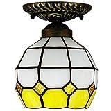 DALUXE Tiffany Lámpara de Techo Vidrio de cúpula Multicolor Luminaria Barroco Luminaria Mediterránea Corredores Balcón Entrada de Cocina Amarillo E27 Ø16 * H18CM 6InCH