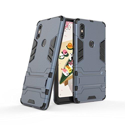 Sunrive Funda para Xiaomi Mi Mix 2S, Fuerte Híbrido de Doble Capa Cubierta Resistente con la Función de Soporte Choque Absorción Funda Gel Carcasa Case Bumper(z Azul Marino)