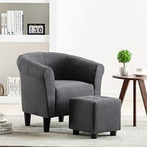 UnfadeMemory 2-TLG. Set Chesterfield-Sessel mit Hocker Stoffsessel Armsessel Fußhocker Stoff Relaxsessel Loungesessel Ergonomische Rückenlehne und Armlehnen (Dunkelgrau)