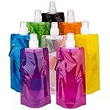 LUTER Plegable Botella de Agua Multicolor Reutilizable Plegable porttil Bolsa de Agua para Deportes al Aire Libre Senderismo para Montar, 8 Colores, 8 Paquetes