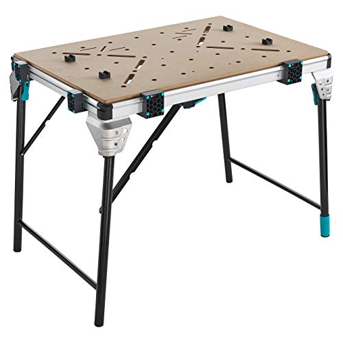 Workbench Master Work 1600 wolfcraft 690900; Mobile Folding Work Table for The Workshop and The Construction site (Height-Adjustable Foot; Many Clamping Options; use with The Drill Stand)