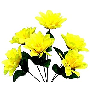 Yellow 6 Head 3″ Dahlia Artificial Silk Flowers Wedding Bouquet Centerpiece Fake Faux, for Wedding Supplies