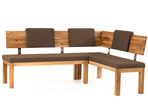 moebel-eins Salima Eckbank, Material Massivholz/Stoffbezug, Eiche, 208 x 171 cm, Walnut