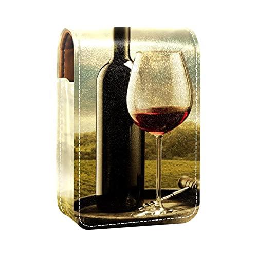 Estuche de lápiz labial para vino tinto en viñedo, con estampado de barril de madera, mini lápiz labial, organizador con espejo para bolso de viaje