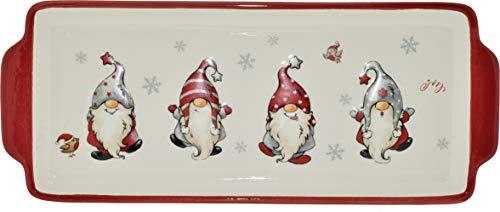 Creofant, piatto da portata con gnomi, piatto da portata con Dolomite, piatto da portata natalizio, piatto da portata per Natale