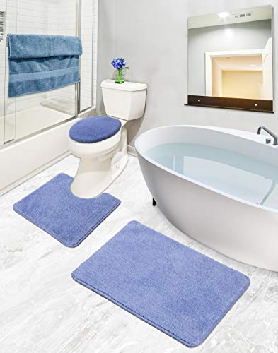 Sweet Home Stores ECO Collection Bathroom Mat Set, 3 Pieces, Blue (SH-ECO5004-3PCS)