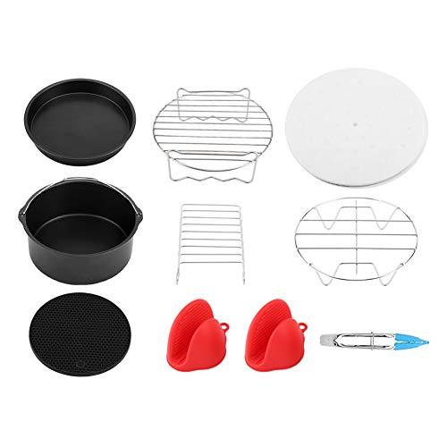 Modernhome Air Fryer, 7inch 9Pcs/set Air Fryer Accessories Kit Cake Barrel Pizza Pan Skewer Rack Cooking Tools, Air Fryer Accessories Set, Air Fryer