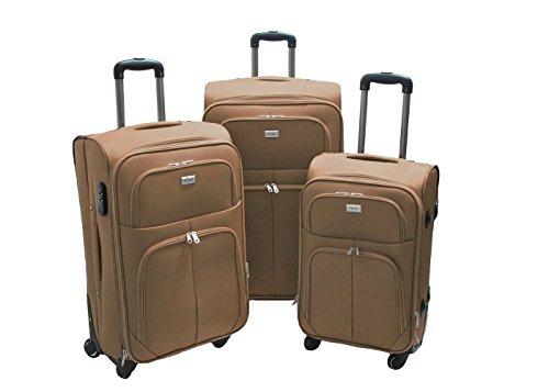 Trolley valigia set valigie semirigide set bagagli in tessuto super leggeri 4 ruote piroettanti trolley piccolo adatto per cabina con compagnie lowcost art.214 (Sabbia)