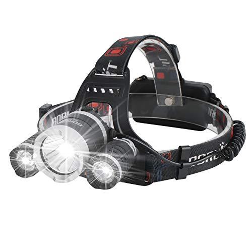Boruit - Linterna frontal recargable RJ-3000 5000 lúmenes, superluminosa, 4 modos de faro LED, linterna frontal con 4 clips, para correr, camping, pesca, ciclismo, senderismo