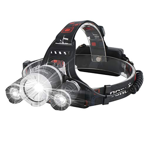 Lampe Frontale Rechargeable RJ-3000, Lampe Frontale ultra lumineux de 5000 lumens avec 4 Modes, Meilleures Lampe frontale led pour la course, le camping, la pêche, le cyclisme, la randonnée etc
