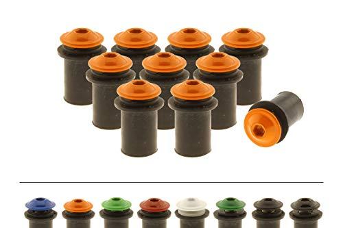 Screws4Bikes | 10x Verkleidungsschrauben M5x16 mit Gummimuttern für Motorrad | orange | Edelstahlschrauben | für Windschild, Scheibe und Verkleidung