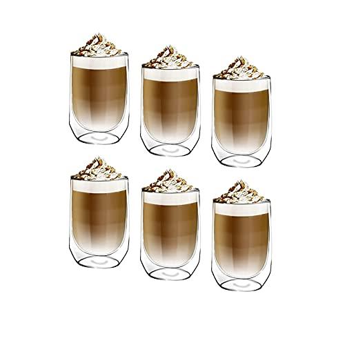 [6-Pack,350ml] Design•Master - Hochwertiges doppelwandiges Isolierglas, Kaffee- oder Teeglasbecher, thermoisoliertes Glas, perfekt für Latte, Cappuccino, Americano, Tee und Getränke.
