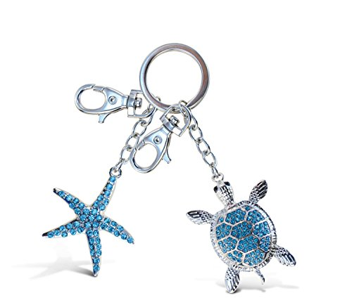 Puzzled Blue Sea Turtle and Turquoise Starfish Sparkling Charm Elegant Keychain