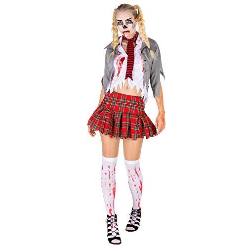 TecTake dressforfun Sexy Zombie Damen Kostüm Frauenkostüm inkl. Bluse, Rock, Strümpfe, Schal und Jacke (M | Nr. 300126)