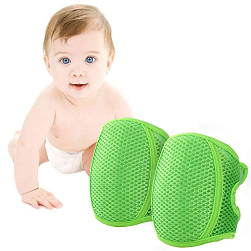 Knieschoner Baby Krabbeln, Kleinkind Knie Kriechende Schutz Anti-Rutsch Gummipunkte Verstellbarer Protektoren,Grün