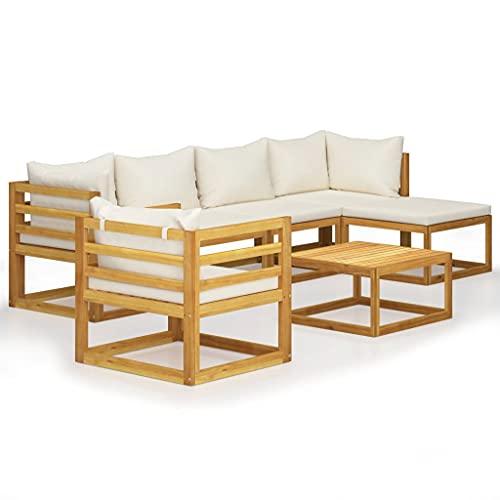 vidaXL Madera Maciza de Acacia Muebles de Jardín 7 Piezas Cojines Mobiliario Hogar Exterior Terraza Sofá Mesa Suave Asiento con Respaldo Crema