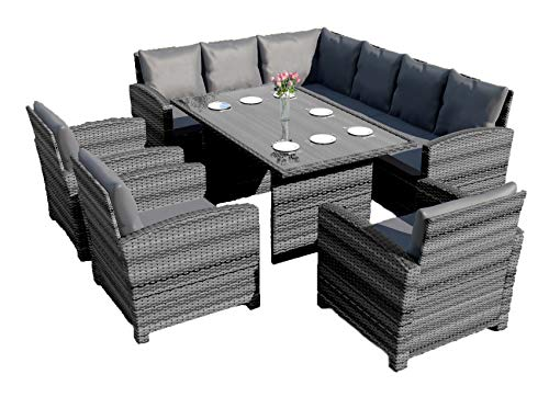 Abreo Rattan Corner Garden Sofa Arm Chair Dining Table Set Furniture Patio Conservatory Black Brown Grey (Dark Mix Grey with Dark Cushions)