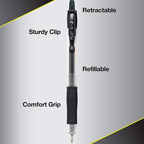 Pilot G2 Retractable Gel Ball Pens, Black, 12 Ct