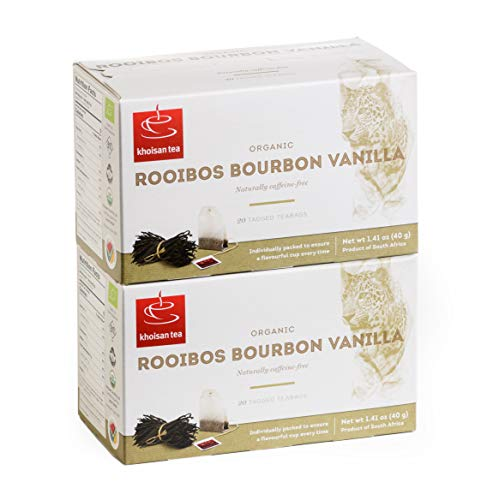 Khoisan Tea Organic Rooibos Bourbon Vanilla Tea 2 x 40g boxes (2 x 20 Teabags) Total of 40 Enveloped Tagged Teabags