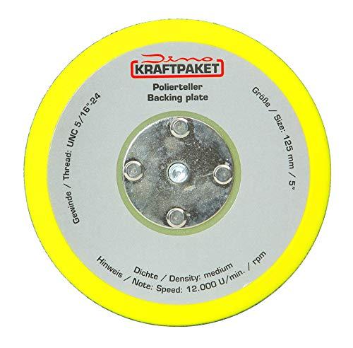 Dino KRAFTPAKET 640259 125mm-Stützteller-5/16-24 mit Klett Polierteller für Exzenter Poliermaschine 600W-8mm, 650W-9mm Hub, Gelb