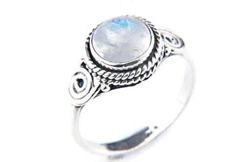 Anillo de plata de ley 925 Piedra de luna (No: MRI 21), Ringgröße:48 mm/Ø 15.3mm