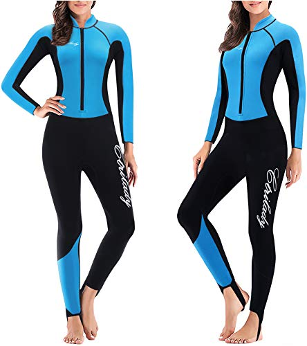 CtriLady Wetsuit Women 1.5mm Neoprene Full Wetsuit Long Sleeve Diving Suits with Front Zipper UV Protection Full Body Swimwear for Swimming Diving Surfing Kayaking Snorkeling (Blue, X-Large)
