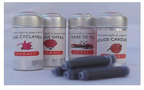 24J Herbin rot Tintenpatronen–rose Cyclamen, Rouge Opera, Terre de Feu und Rouge caroubier