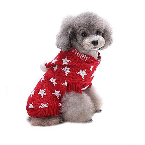 CHIYEEE Weihnachtspullover für Hunde und Katzen Weihnachten Hundepullover Warm Hundepulli Winter Strickpullover Sweater XL