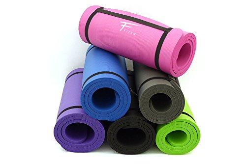 Fitem Tapis de Sol Violet Ultra-Epais en Mousse Confort Haute Densité NBR - 183 x 60 x 1,5 cm - pour Gym,Yoga, Sport, Gymnastique, Fitness, Pilates, Musculation - Sangle de Transport Incluse
