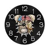 AEMAPE Bulldog con pañuelo en la Cabeza Reloj de Pared Redondo Acrílico Silencioso Relojes Decorativos Que no Hacen tictac