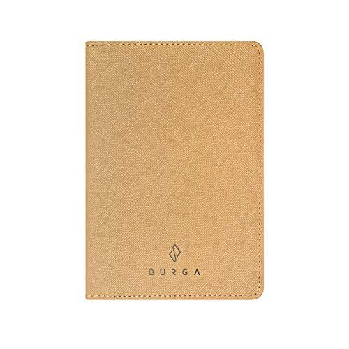 BURGA Cream Nude Minimalist Genuine Leather Passport Holder Cover Case for Women and Men. Travel Wallet Travel Document Organizer.
