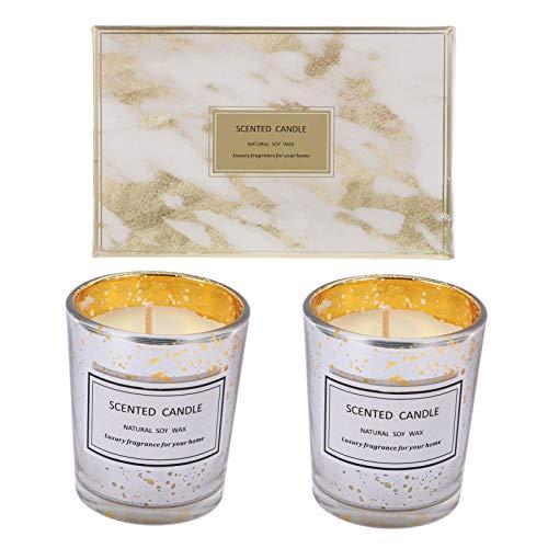Garneck - 2 candele per aromaterapia, profumate in cera di soia naturale, candela regalo per yoga, meditazione, relax, decorazione da ufficio a casa